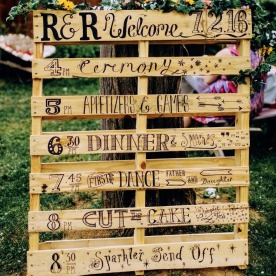 R&R wedding - Order of the day sign on wooden palette