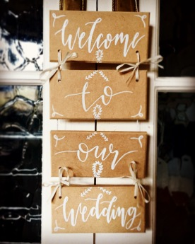'Welcome To Our Wedding' Hanging Sign wooden board & white lettering